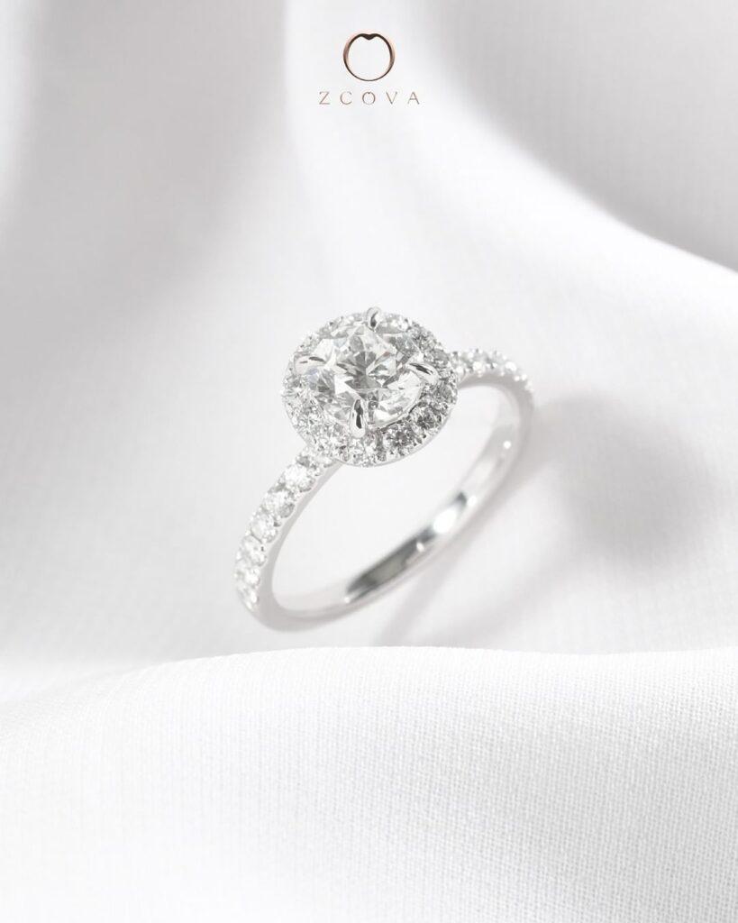 Round Halo Engagement Ring White Gold