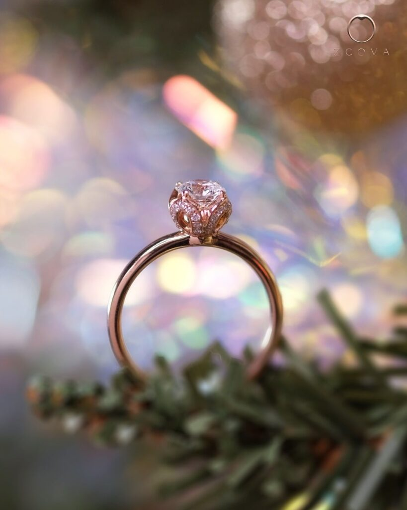 Tulip Pave Solitaire Engagement Ring