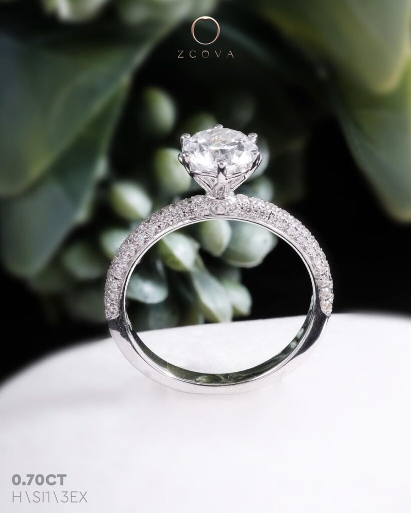 Veronica 6 Prong Micro pave Engagement Ring
