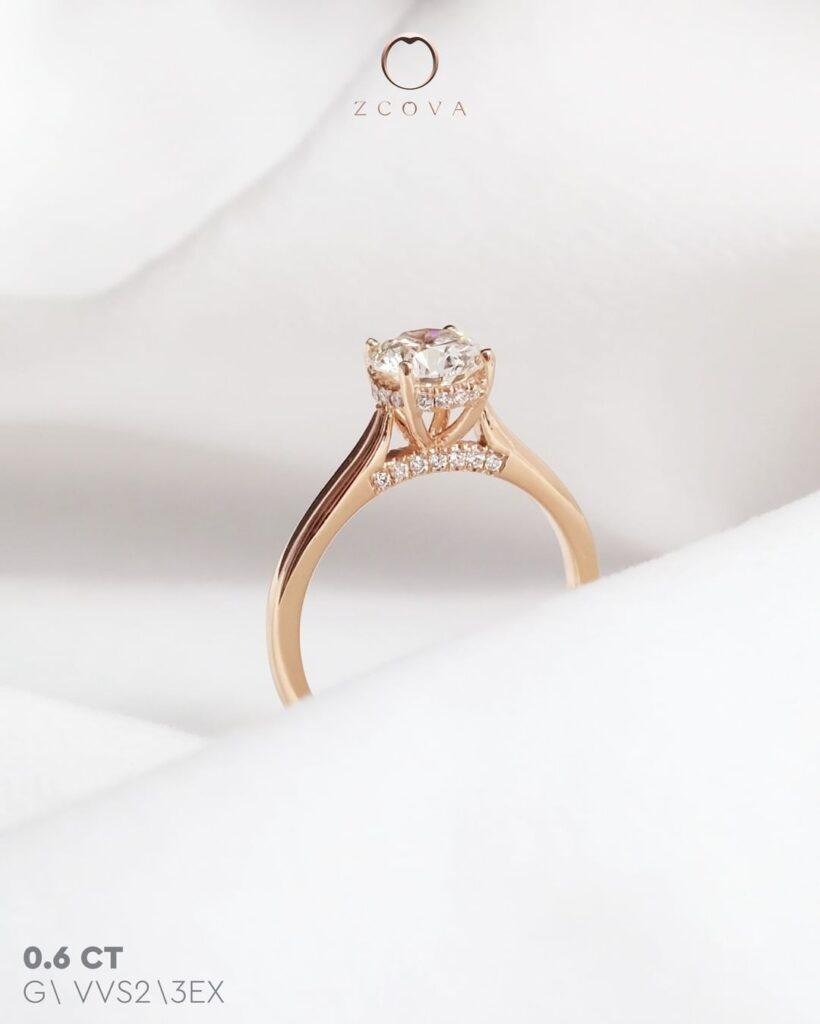 Diamond Bridge Rose Gold Engagement Ring