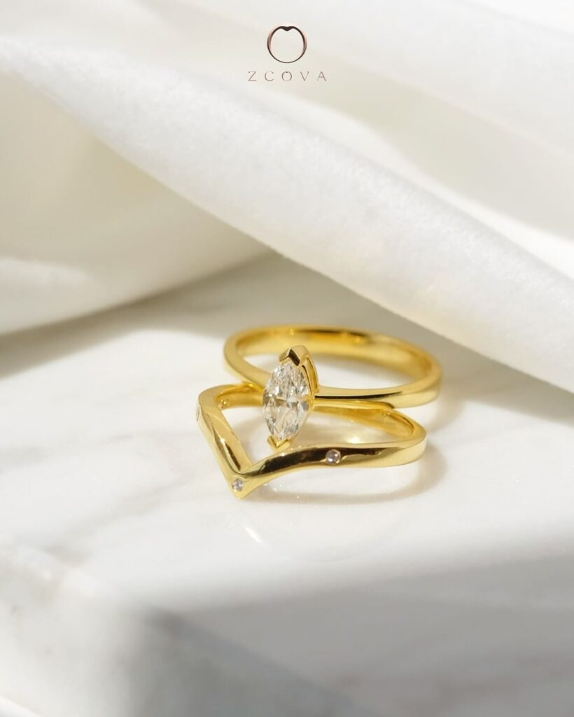 Marquise Solitaire Yellow gold Engagement Ring