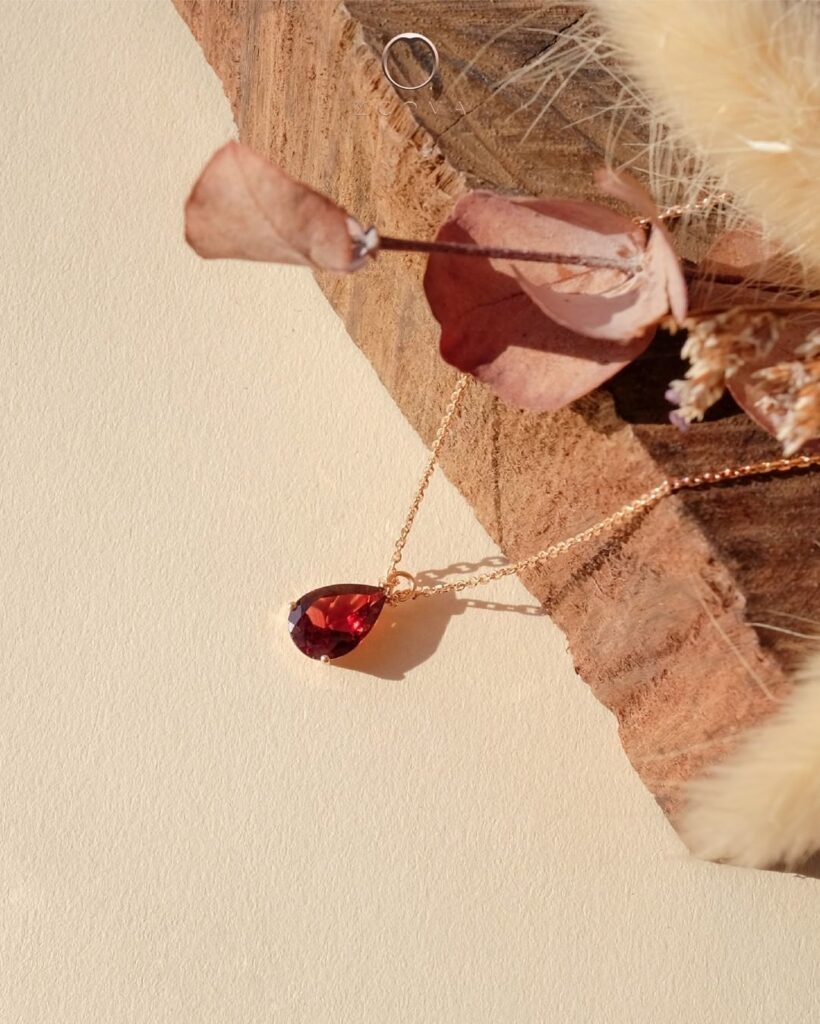 January Birthstone Garnet Gemstone Necklace