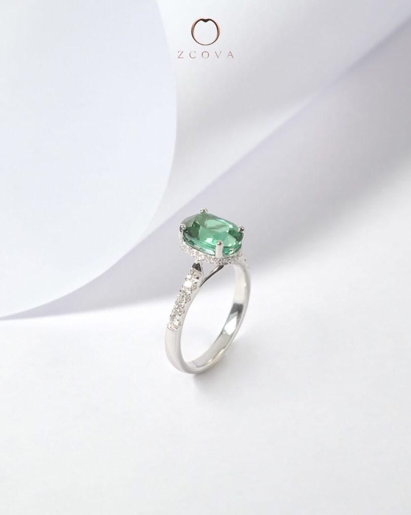 October Birthstone Tourmaline Gemstone Engagement Ring