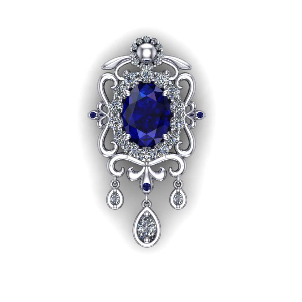 Blue sapphire brooch with diamonds penthouse kdrama