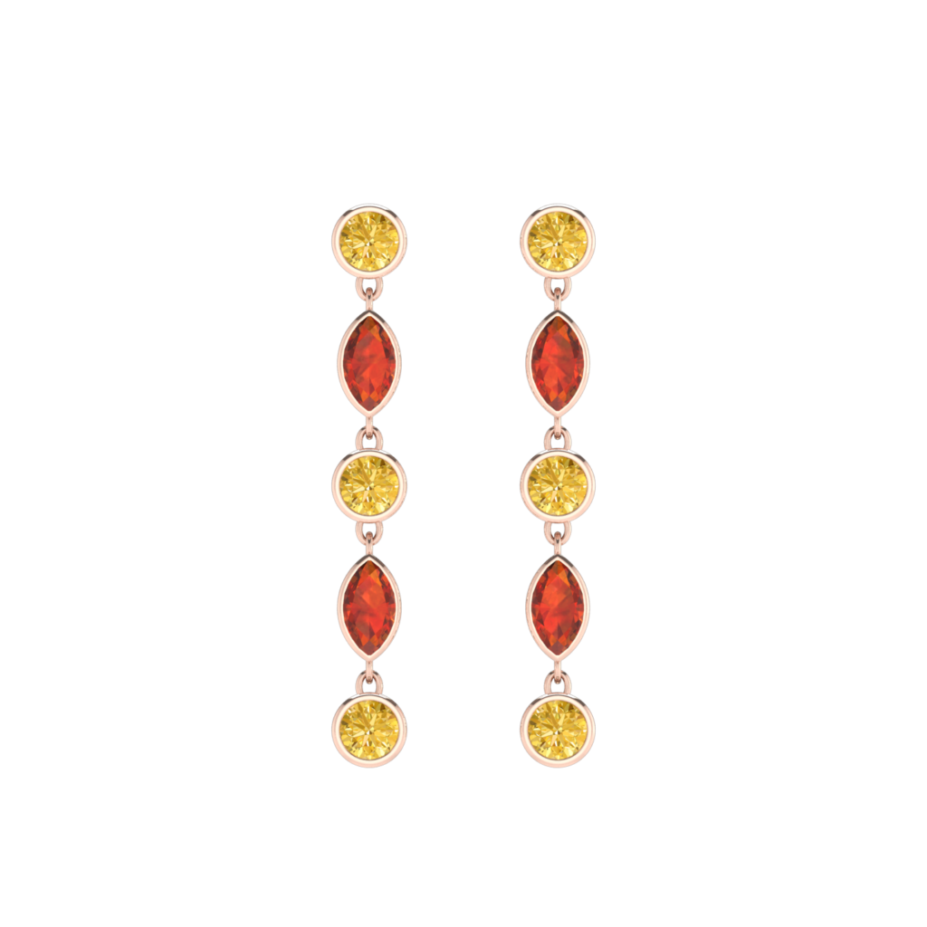 Round and Marquise shape Citrine gemstone dangling earring
