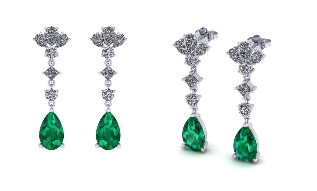 Elizabeth Taylor Emerald gemstone with diamonds dangling earrings