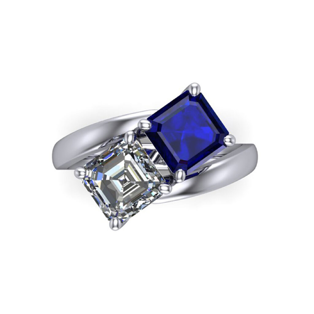 Toi et Moi, Blue Sapphire and Diamond engagement ring inspired by Empress Josephine