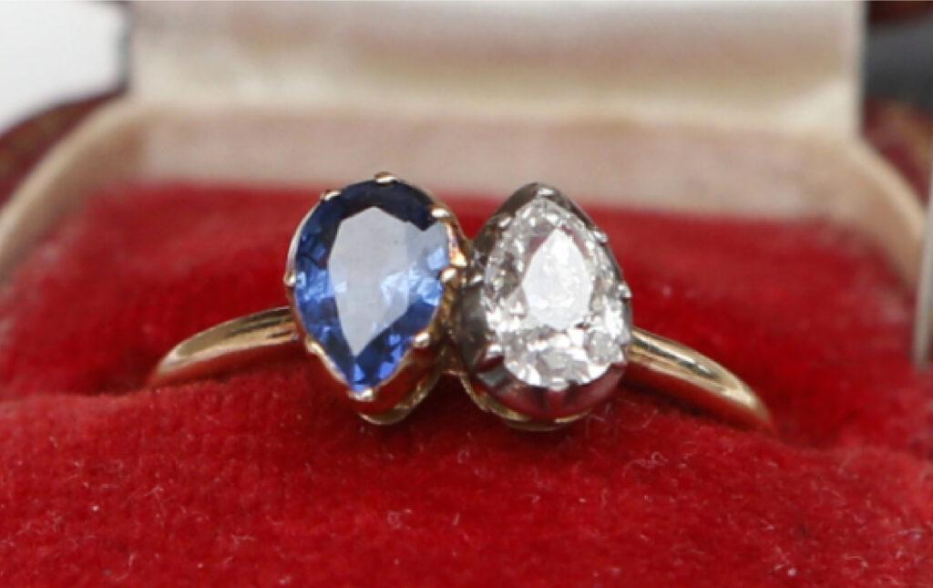 Toi Et Moi Ring Blue Sapphire and Diamond Empress Josephine