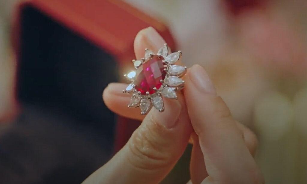 Penthouse Rose cut ruby gemstone ring