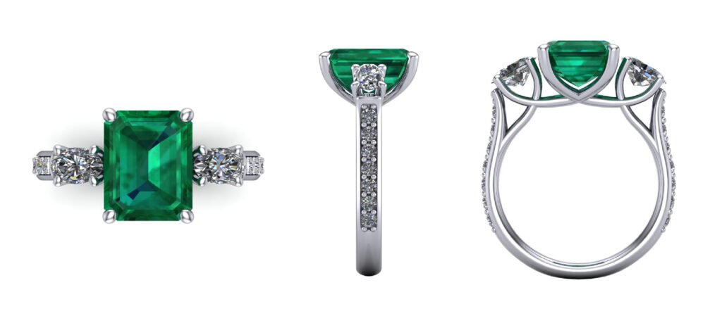 Emerald gemstone Ring with side diamonds inspired by Michelle yeoh crazy rich asian