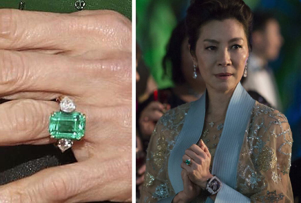 michelle yeoh emerald gemstone with side pear diamond engagement ring