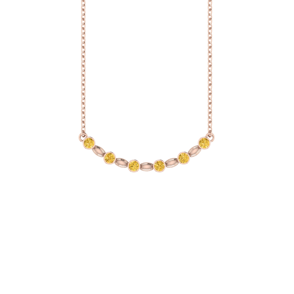 18K Gold Single Row Smile Necklace with Golden Citrine Gemstone