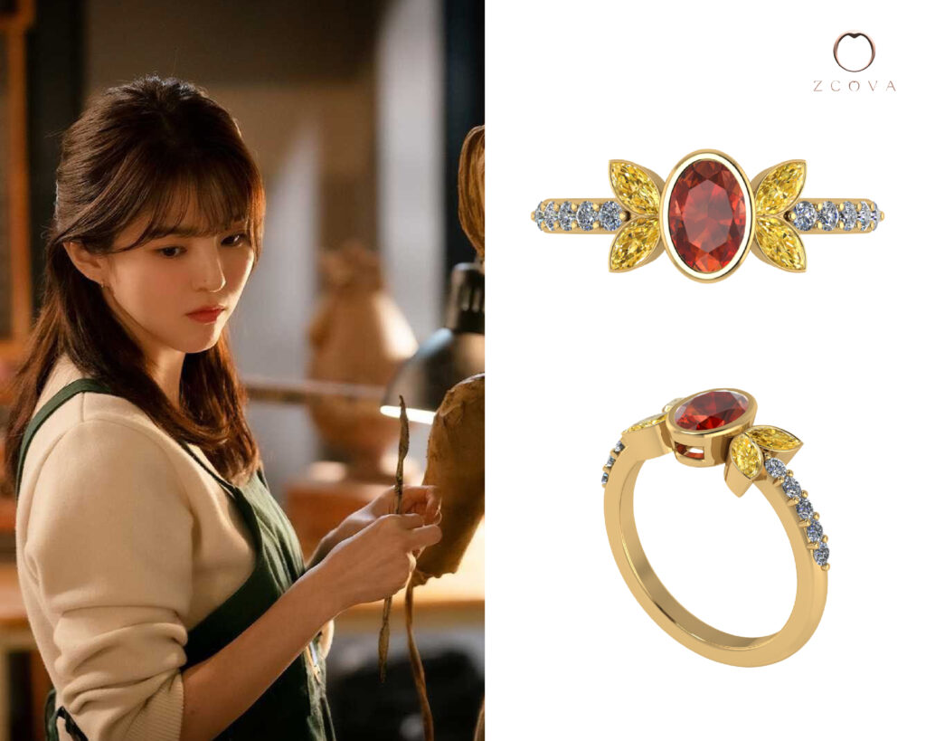 Ruby and citrine ring with pave diamond inspired by butterfly tattoo from nevertheless kdrama