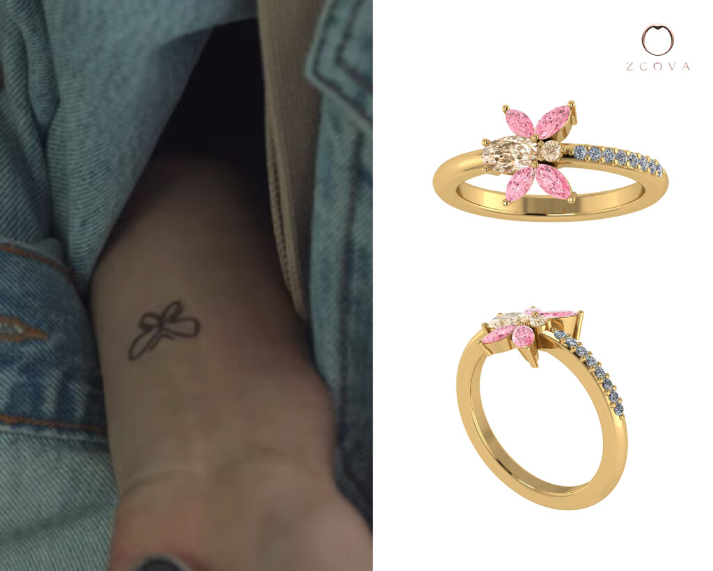 Brownish Pink Sapphire with Marquise Light Pink Spinel inspired by butterfly tattoo from nevertheless kdrama