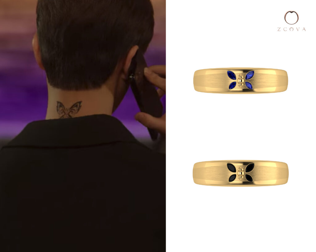 Marquise Blue Sapphire Gemstone and Marquise Black Spinel Ring inspired by butterfly tattoo from nevertheless kdrama