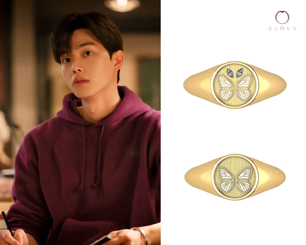 Butterfly Signet 18K Gold Ring with Marquise cut Diamond inspired by Park Jae-eon butterfly tattoo in Nevertheless Kdrama