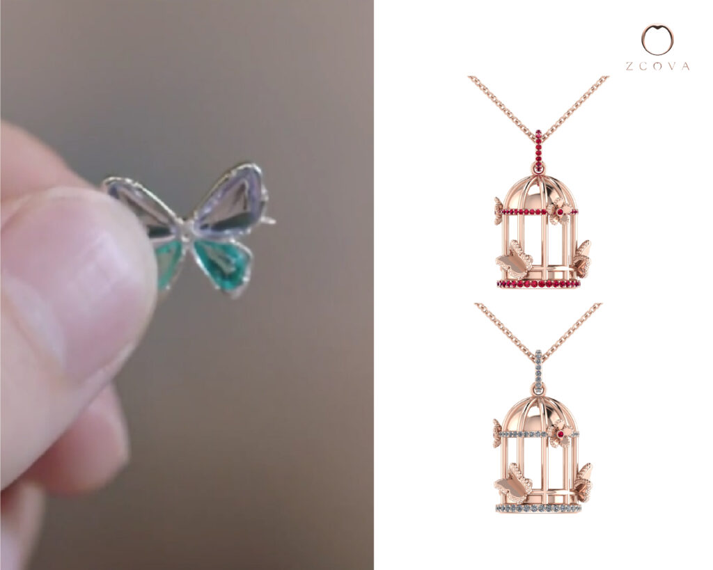 Butterfly Cage Pendant Necklace with gemstones and diamonds inspired by Park Jae-eon butterfly tattoo in Nevertheless Kdrama