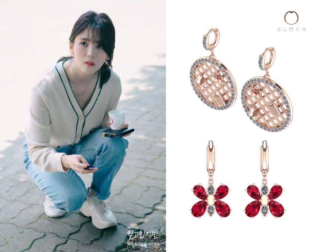 Butterfly Earring with Diamonds and Gemstones inspired by Han So Hee butterfly tattoo in Nevertheless Kdrama