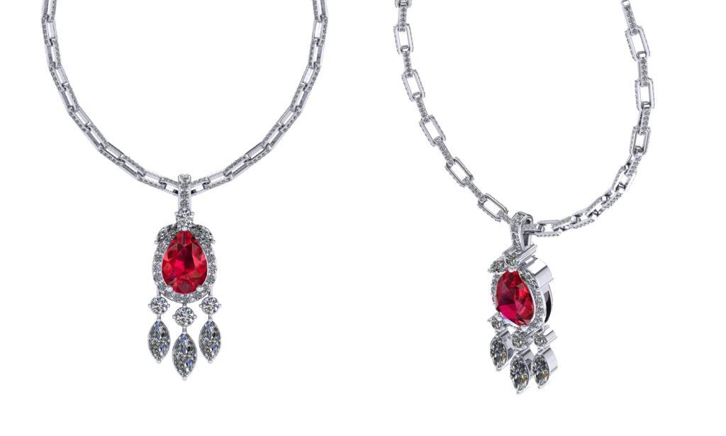 Pear cut ruby gemstone with diamond necklace