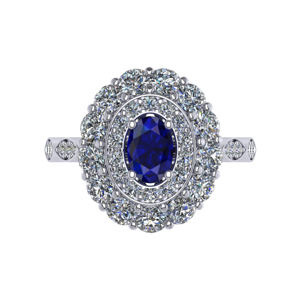 Blue Sapphire Double Halo Engagement Ring inspired by Princess Diana