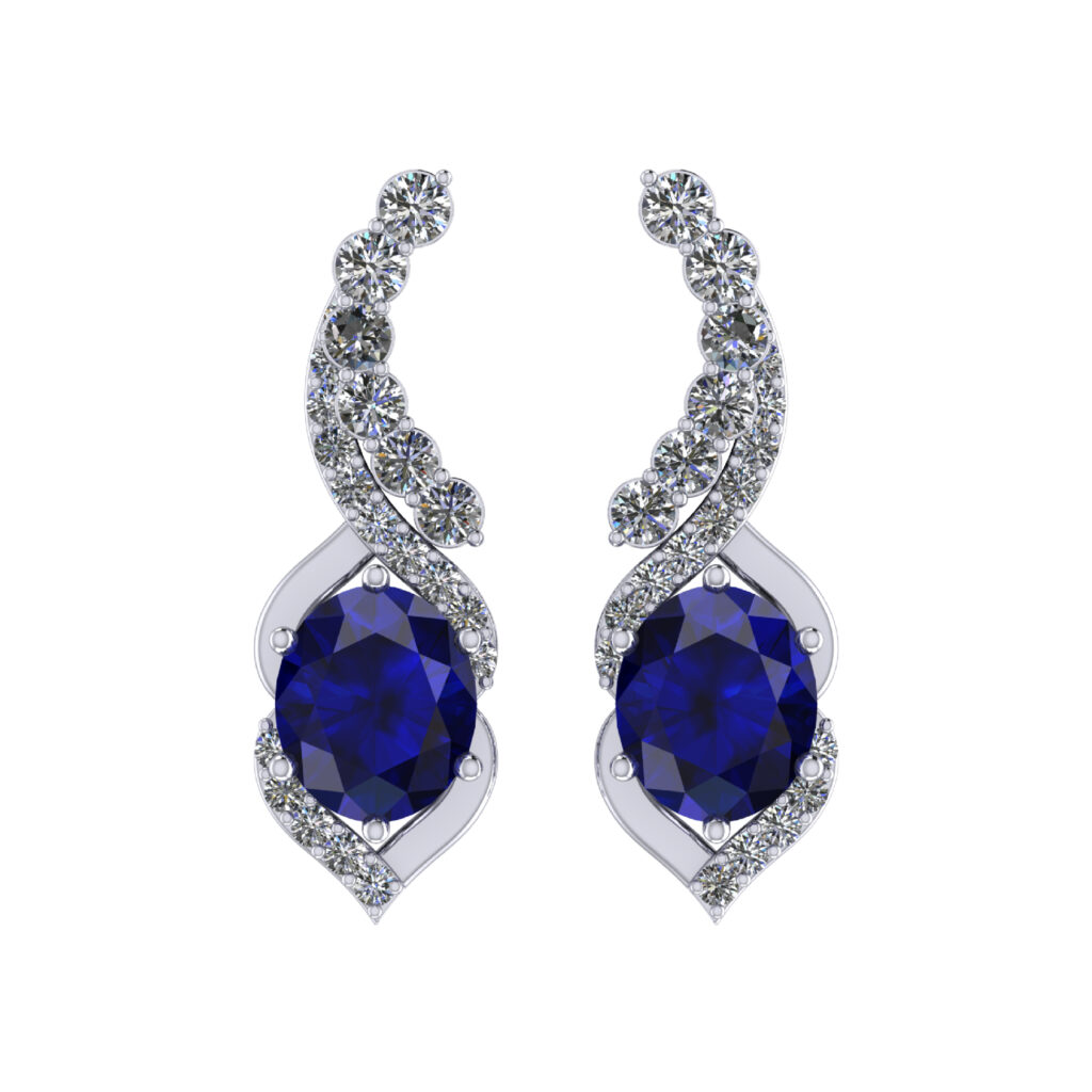 Blue Sapphire Earring with diamonds inspired by Queen Elizabeth