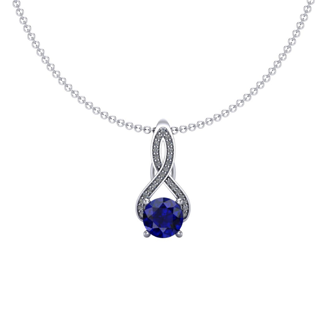 Blue Sapphire Loop Necklace inspired by Queen Elizabeth