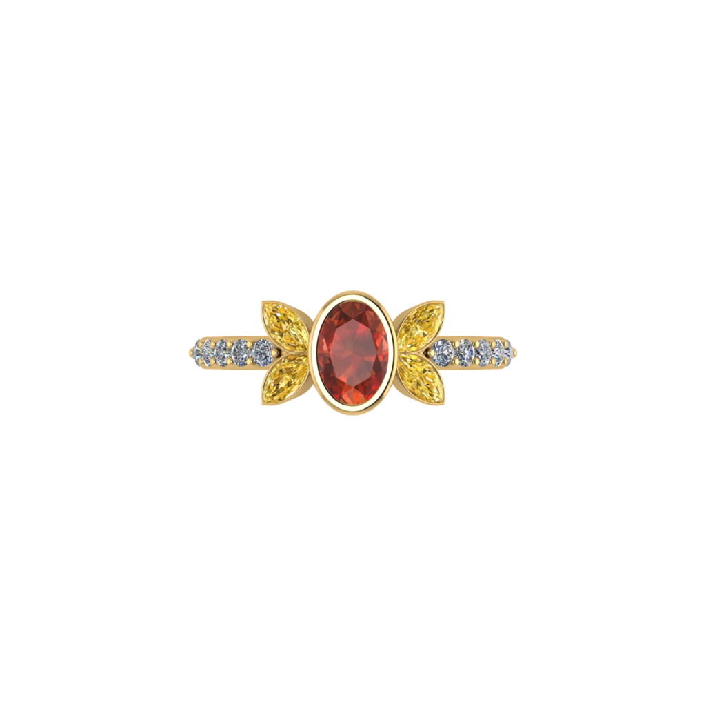 Marquise Citrine Gemstone Ring with Red Oval Ruby and diamonds