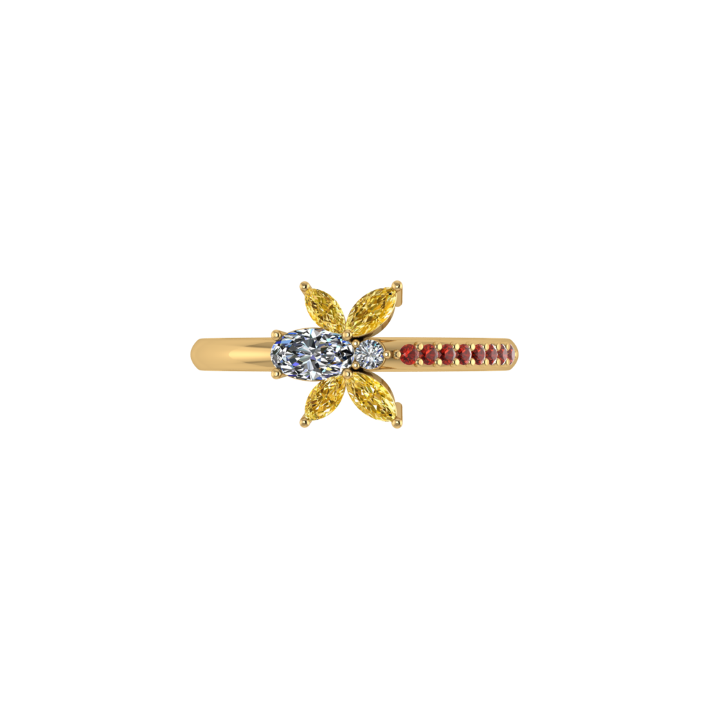 Butterfly Citrine Gemstone Ring with diamond and ruby