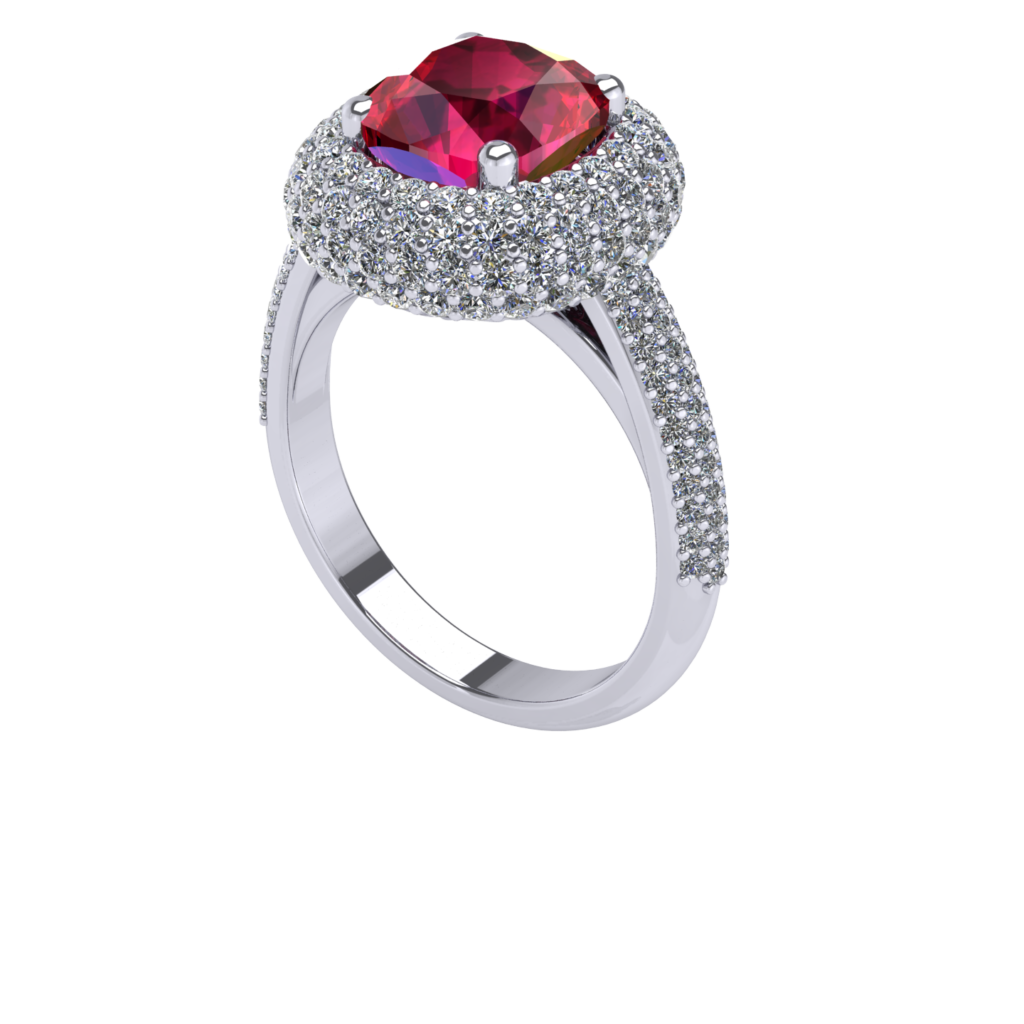 Rose cut ruby double halo ring penthouse kdrama