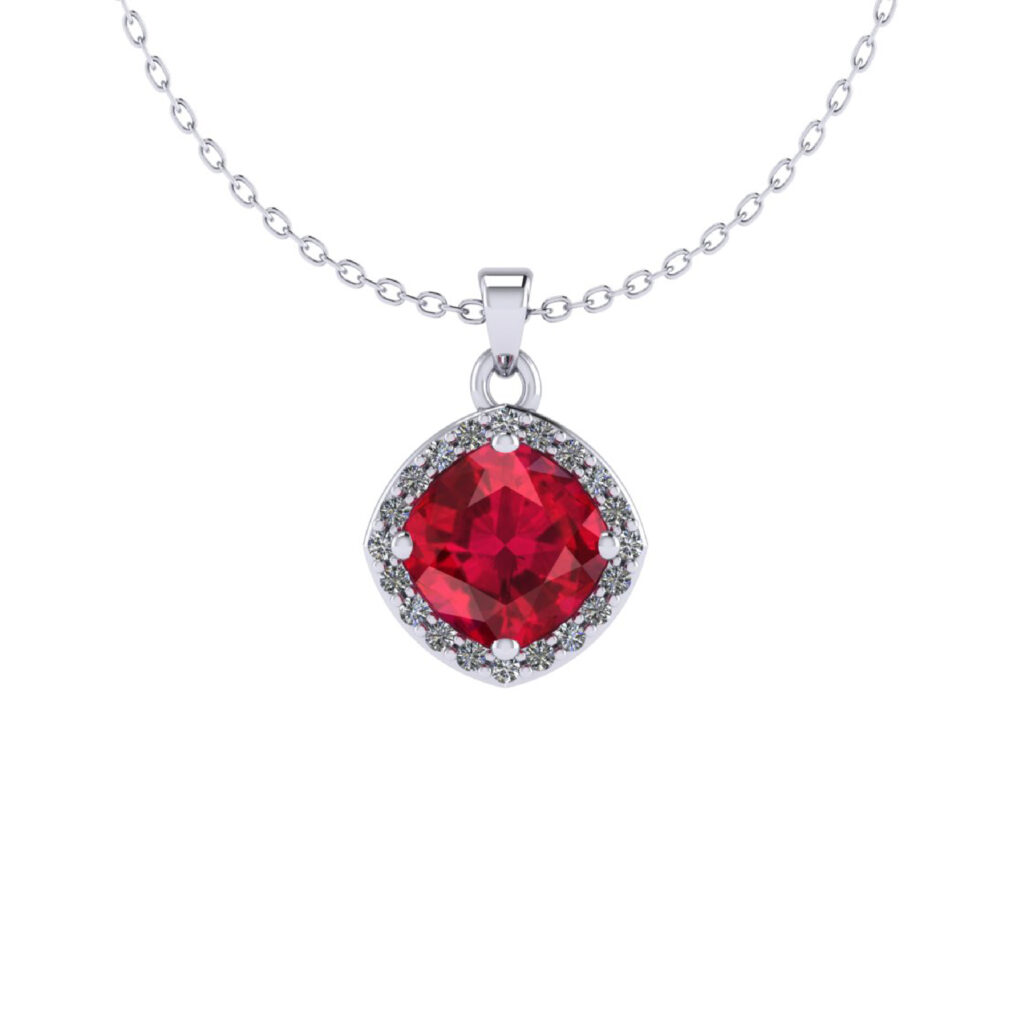 Cushion Ruby Gemstone with diamond halo Penthouse Kdrama
