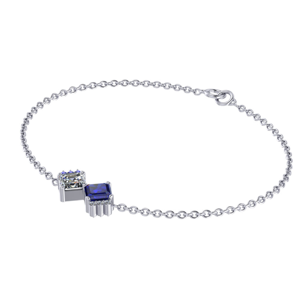 Toi et moi Bracelet, Blue sapphire and Diamond bracelet inspired by Empress Josephine