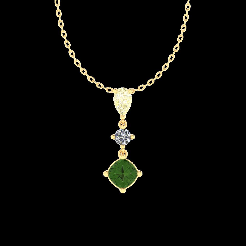 Tourmaline Gemstone Necklace with Diamonds in 18K YellowGold