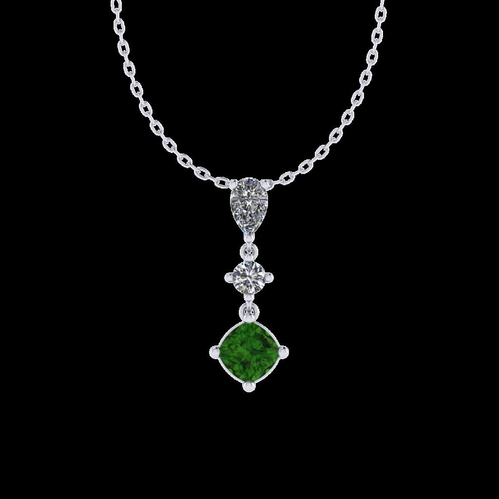 Tourmaline Gemstone Necklace with Diamonds in 18K White Gold