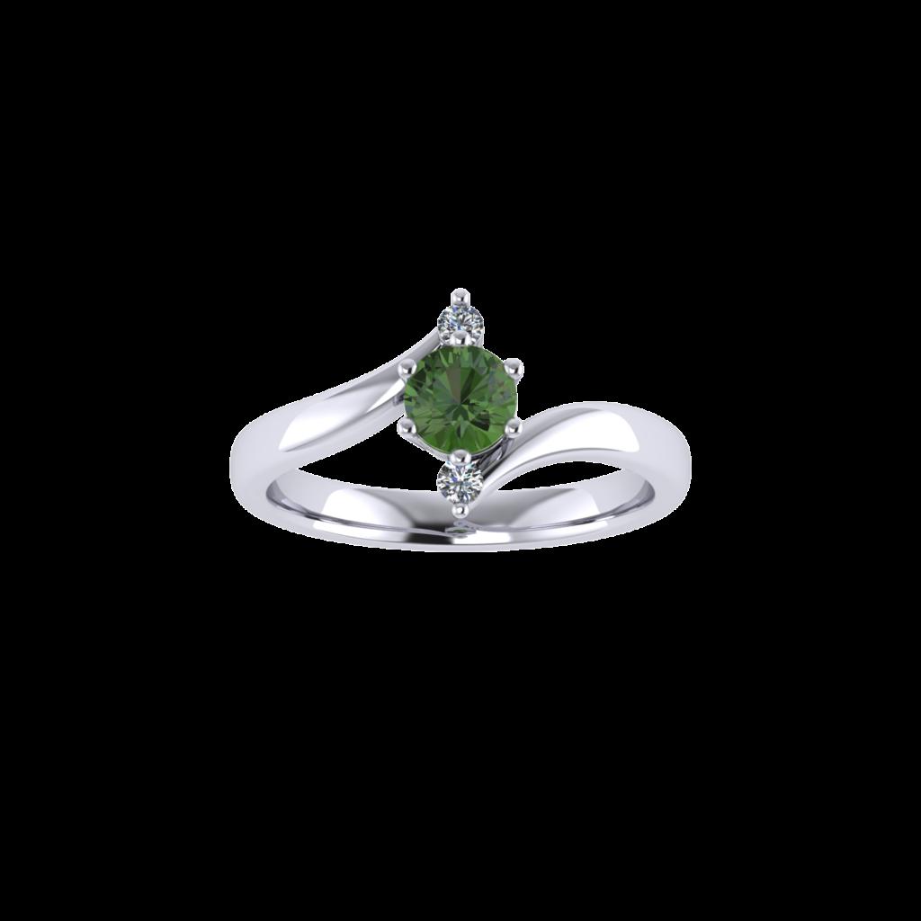 Tourmaline Gemstone with side diamond twisted prong engagement ring