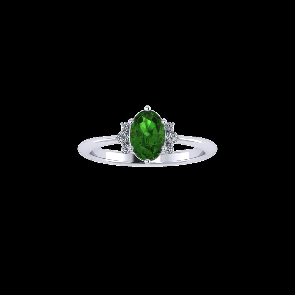 Tourmaline Gemstone with side diamond ring