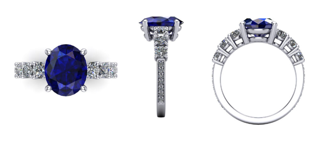 Sapphire gemstone with side diamond engagement ring inspired by victoria bechkam
