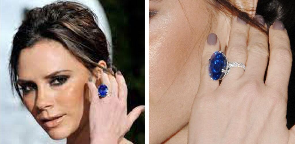 Victoria Beckham Blue sapphire gemstone engagement ring