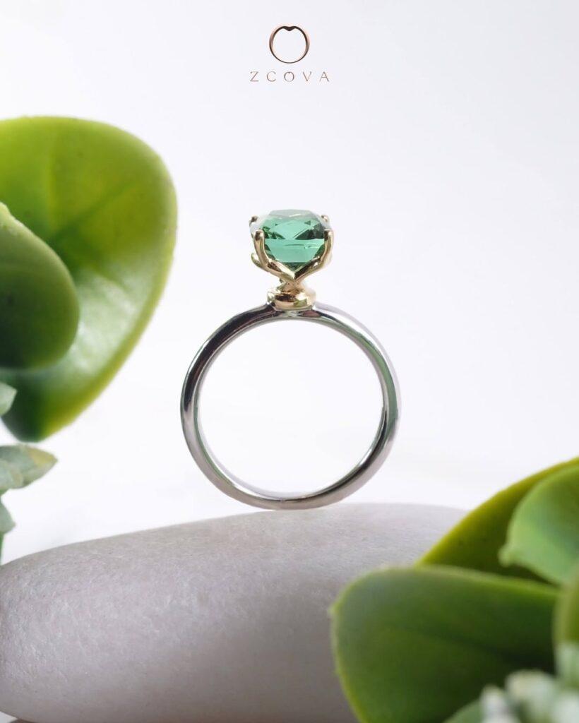 Mixed metal two tone gemstone 18K gold engagement ring