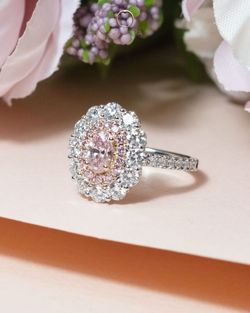 Pink Diamond Double Halo Engagement Ring