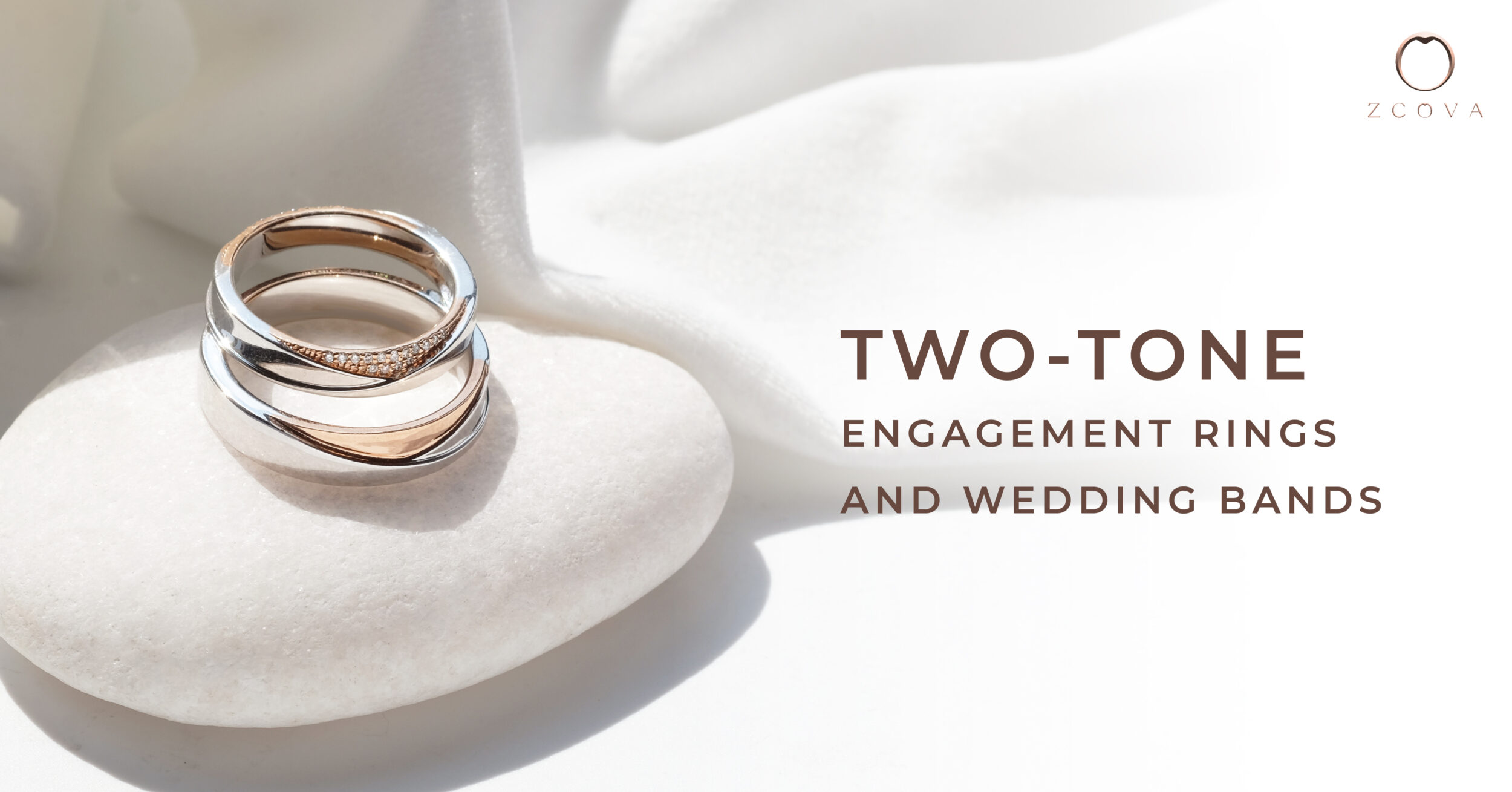 Two-tone engagement ring and wedding band