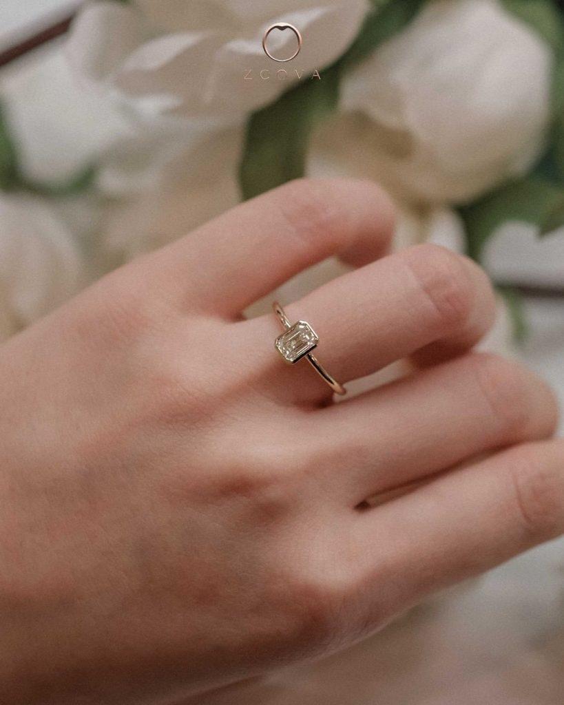 Emerald Cut Diamond Bezel setting 18K yellow gold engagement Ring