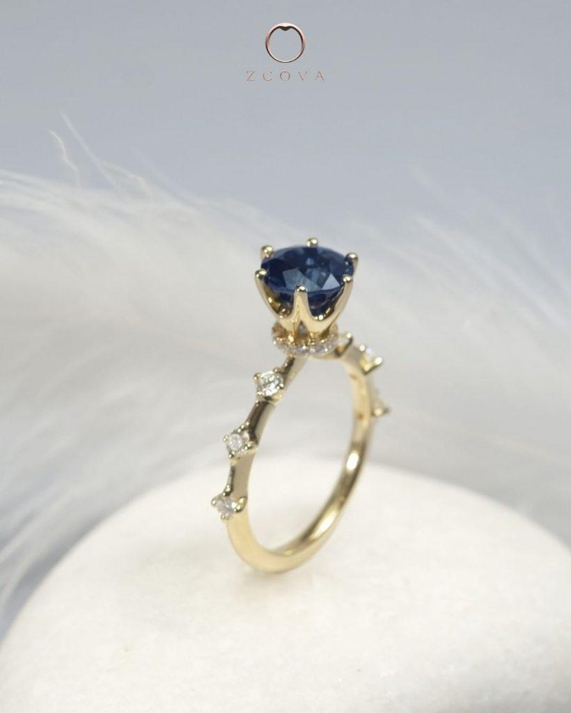 Blue Sapphire 18K Gold Engagement Ring
